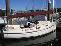 Horizon Cat with maroon sail cover