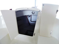 The companionway doors are mounted on take-apart hinges so that they can be removed.