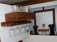 Convenient bar setup behind bulkhead door