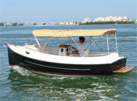 With the standard Yanmar 2 cylinder diesel engine it will cruise along at 6 knots and consume approximately 1/3rd of a gallon per hour of diesel fuel.